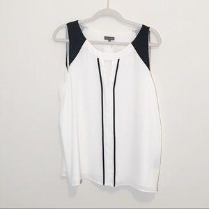 Vince Camuto White Sleeveless Blouse w/ black XL